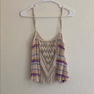 Free People Rainbow Tank Crop Top Medium